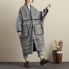 Winter Women Large Size Shoulder Sleeve Double Pocket Woolen Gray Coat - Buykud