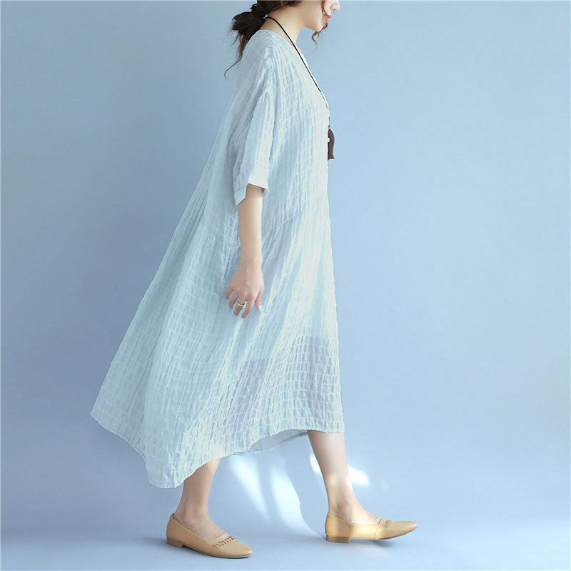 Folded Women Loose Casual Summer Plain Short Sleeves Blue Dress - Buykud