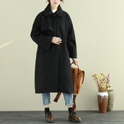 Women Autumn Winter Lapel Long Sleeve Casual Pleated Long Coat