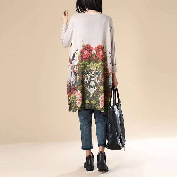 Women Retro Long Sleeve Printing Side Slit Beige Dress - Buykud