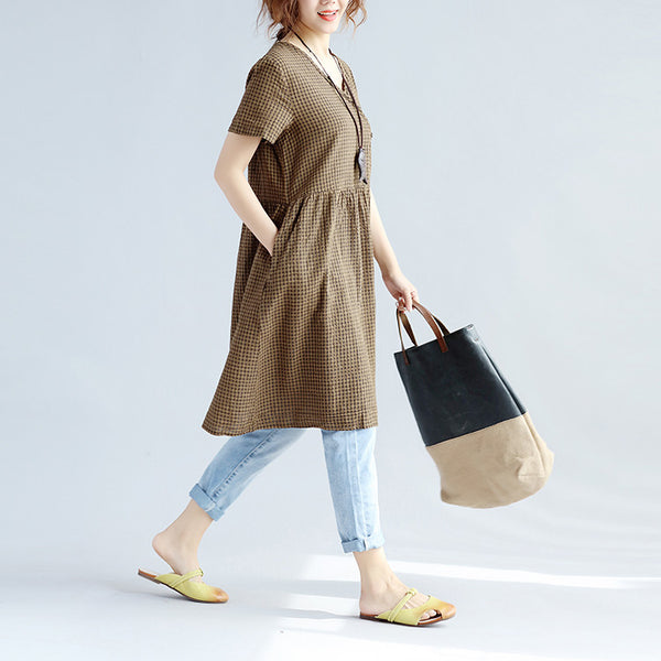 Lattice Retro Loose Dacron Women Wool Yellow Dress