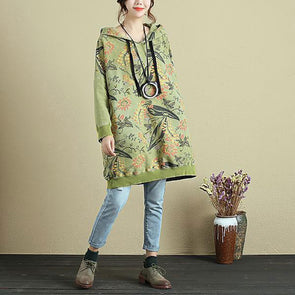 Stylish Hooded Printing Autumn Women Long Sleeve Green Shirt