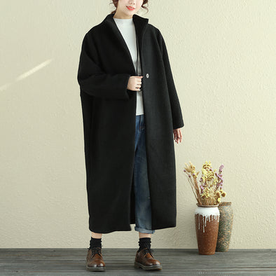 Autumn Winter Women Lapel Snap-Front Long Sleeve Black Long Coat - Buykud