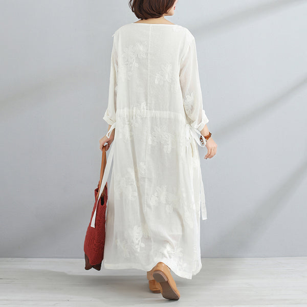 Casual V Neck Long Sleeve White Lacing Women Dress - Buykud