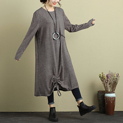 Women Long Sleeve Pleated Drawstring Casual Dress - Buykud