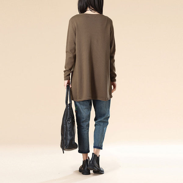 Women Long Sleeve Casual Loose Coffee Sweater Blouse - Buykud