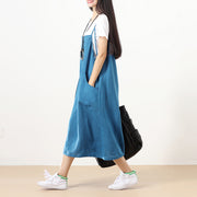Literature Ramie Sleeveless Buttons Big Buttons Blue Women Vest Dress - Buykud