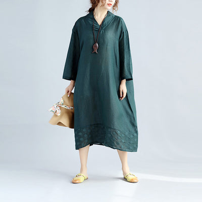 Women Loose Splicing Linen Embroidered Green Dress - Buykud