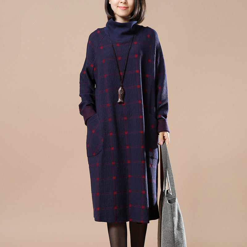 Women Winter V Neck Print Long Sleeve Dress