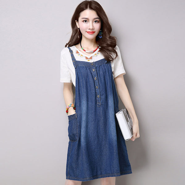 Summer Loose Cotton Casual Women Blue Suspender Skirt - Buykud