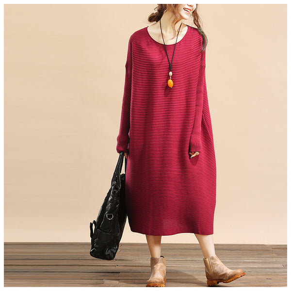 Women plus size loose fitting winter knitting sweater dress - Tkdress  - 4