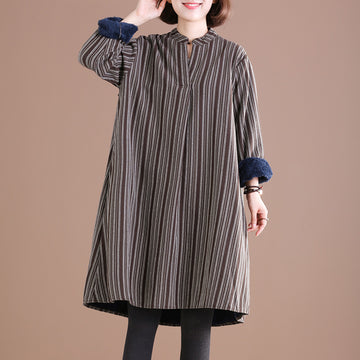 Buykud Casual Stand Collar Plus Velvet Warm Dress