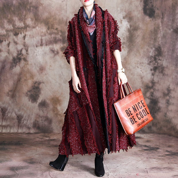 Buykud Burr Stripe Casual Retro Loose Trench Coat