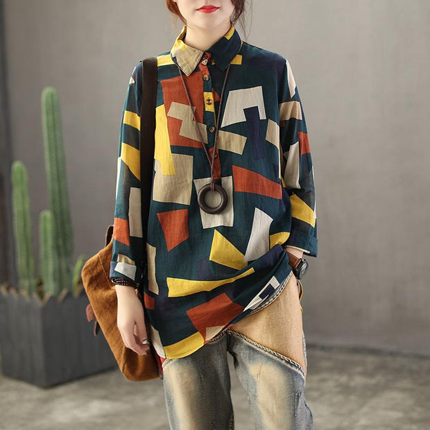 Colored Irregular Geometry Pullover Blouse