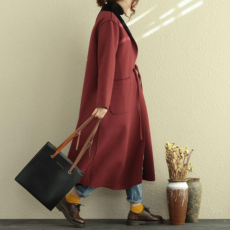 Casual Polo Collar Long Sleeve Red Women Woolen Coat