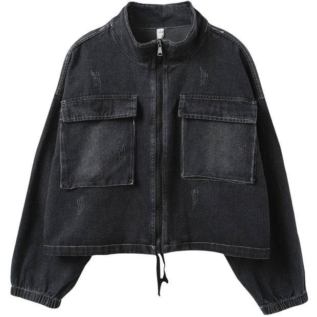 Buykud Simple Design Solid Color Denim Jacket