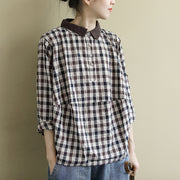 Buykud Turn-down Collar Plaid Casual Comfortable Shirt