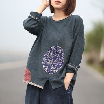 Buykud Retro Casual Pattern Printed Loose Knitted Sweater