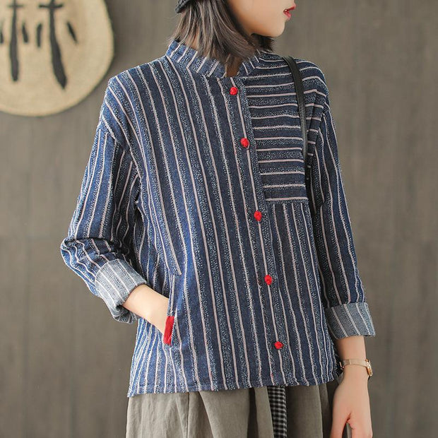 Cotton Stripe Blue Long Sleeve Shirt