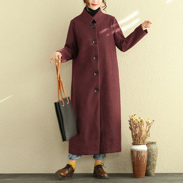 Winter Single Breasted Stand Collar Women Long Coat - Buykud