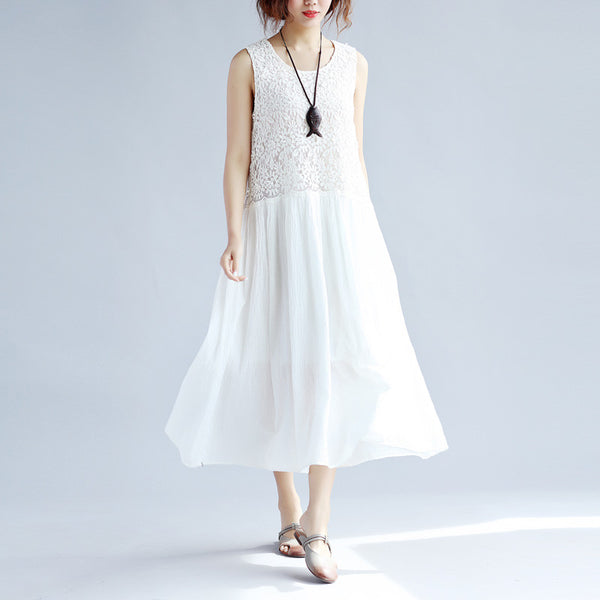 Splicing Women Loose Folded Cotton White Sleeveless Dress