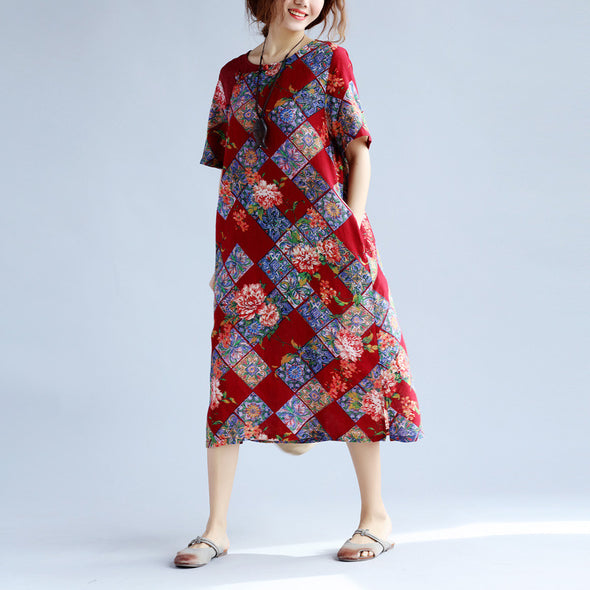 Casual Printing Women Floral Red Dress - Buykud