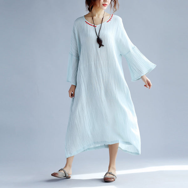 Women Embroidered Loose Cotton Linen Blue Dress - Buykud