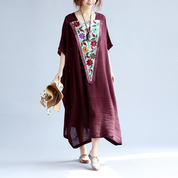 Splicing Retro Loose Ethnic Cotton Women Linen Wine Red Dress - Buykud