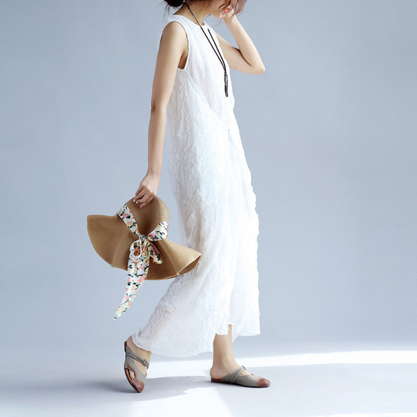 Folded Loose Irregular Women Cotton Elegant White Dress