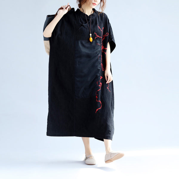 Women Retro Frog Embroidered Silk Splicing Loose Black Dress - Buykud