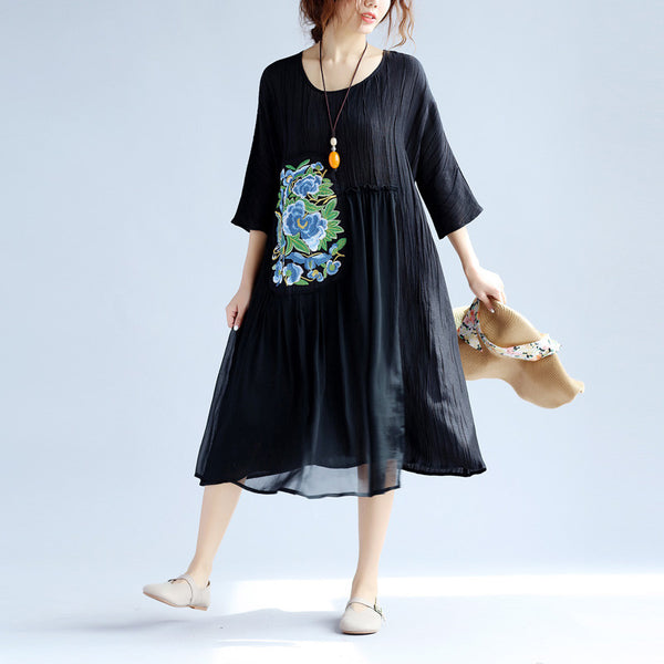 Cotton Linen Embroidered Women Retro Splicing Loose Black Dress - Buykud