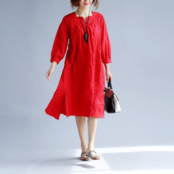 Folded Women Splitting Cotton Loose Irregular Red Dress - Buykud