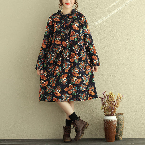 Women Vintage Floral Printing Long Sleeve Cotton Linen Dress