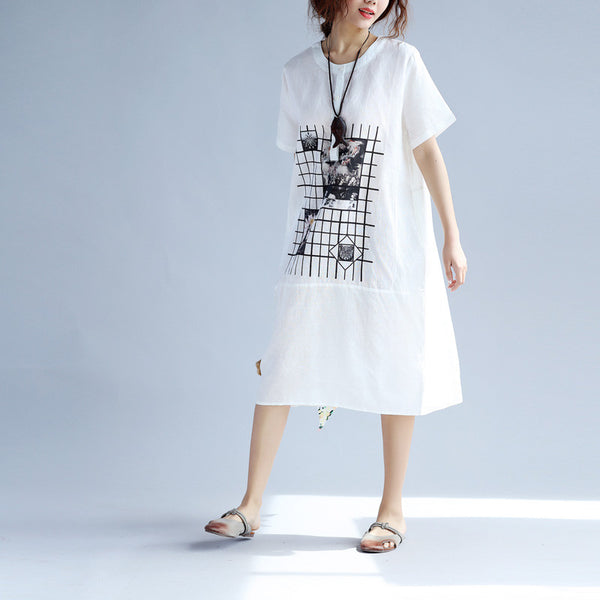 Printing Women Loose Splicing Cotton Folded White Dress