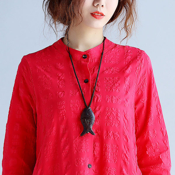 Retro Solid Women Button Red Dress