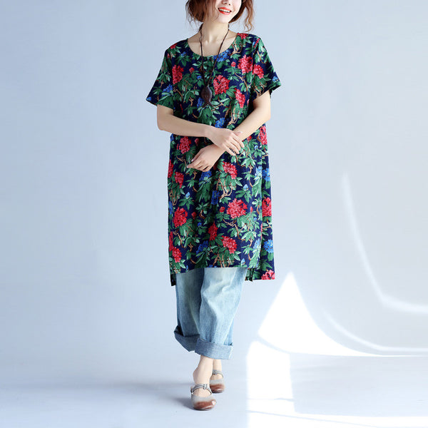 Vintage Loose Women Printing Button Pocket Dress - Buykud