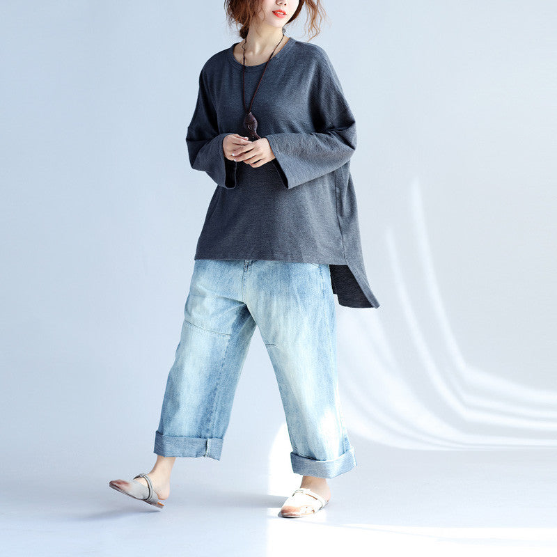c69d95a8cab Soft Casual Women Solid Dark Gray Sweater - Buykud · Plus Size ...