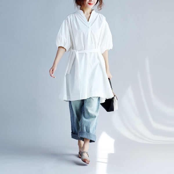 Women Loose Folded Strap Button Cotton White Coat