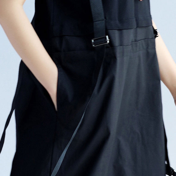 Chic Women Strap Splicing Pocket Black Dress - Buykud