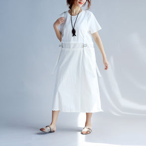 Chic Women Strap Splicing Pocket White Dress - Buykud