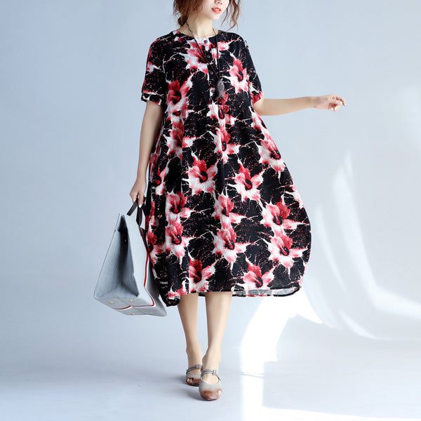 Linen Women Loose Retro Floral Casual Red Dress