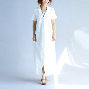 Folded Cotton Women Loose Casual Splitting White Dress - Buykud