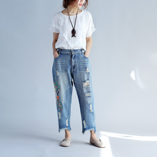Casual Embroidered Fitting Women Denim Pants