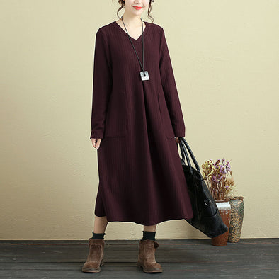 V Neck Long Sleeve With Pocket Purple Knitted Folded Sweater Dress - Buykud