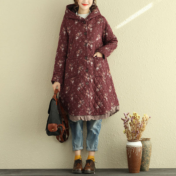 Winter Retro Women Hooded Floral Long Sleeve Cotton Linen Coat