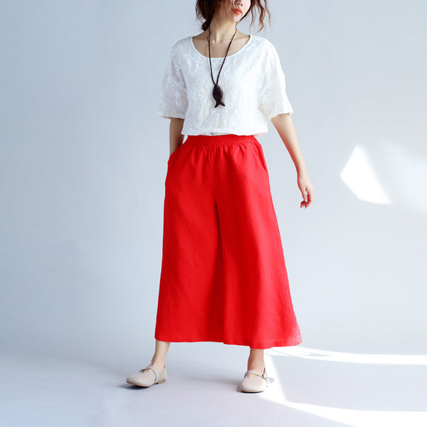 Cotton Linen Loose Women Pocket Red Pants