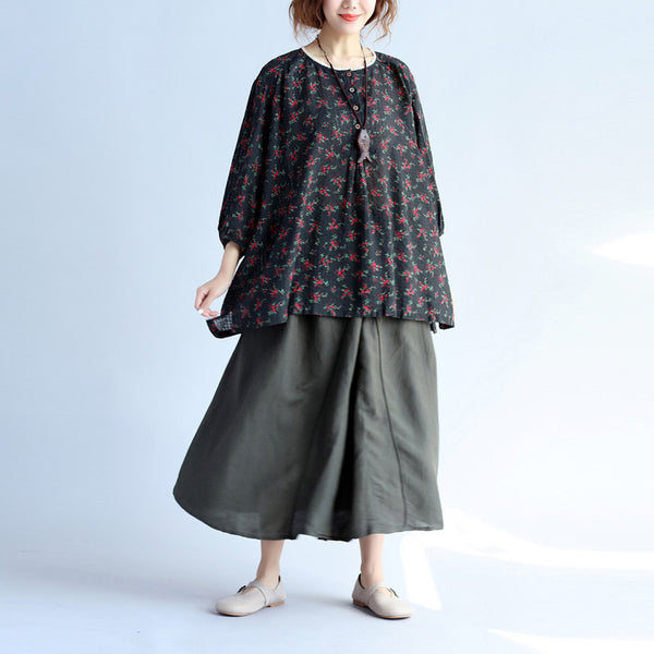 Women Casual Lacing Floral Black Shirt