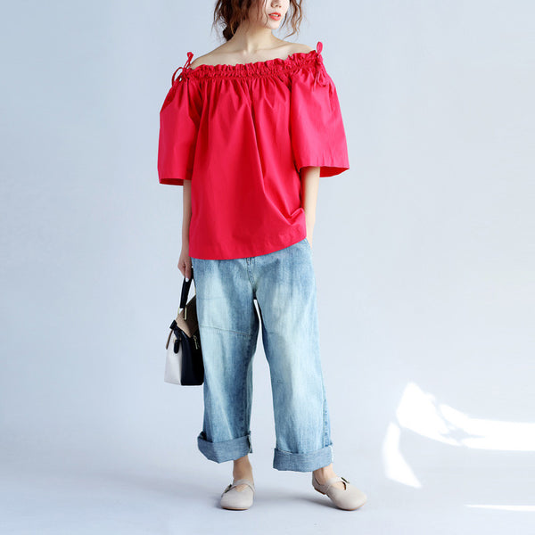 Cotton Women Casual Strap Off Shoulder Red Shirt - Buykud