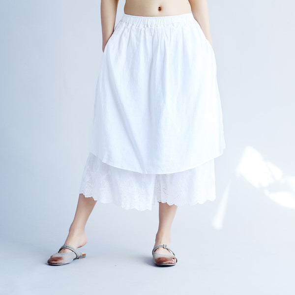 Casual Solid Wide Leg Women White Pants