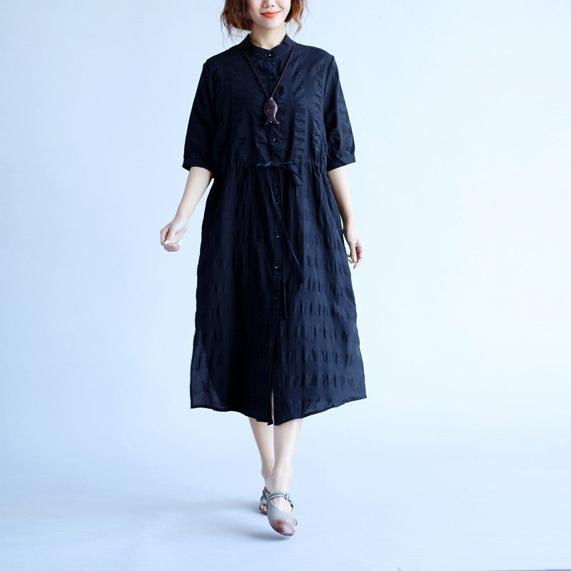 Summer Women Short Sleeves Black Dress - Buykud
